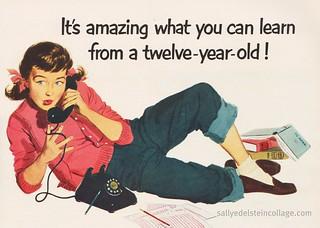 1950 AD retro teenager on telephone