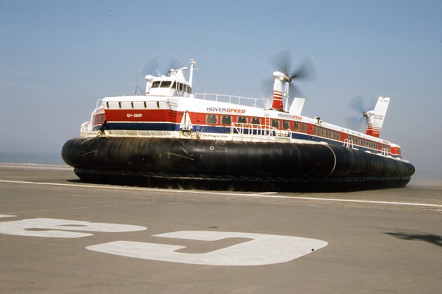 Hoverspeed SRN4 Hovercraft, The Princess Anne at Calais August 1989