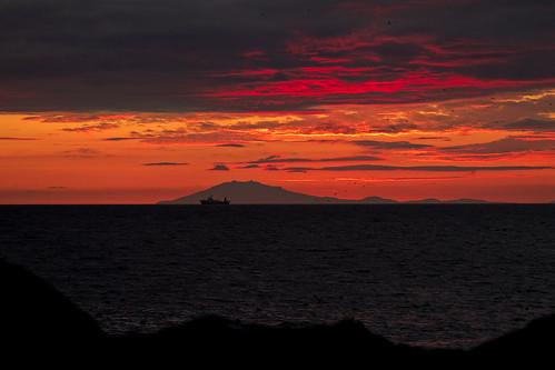 sunset sea sky orange mountain color nature yellow night landscape iceland clauds