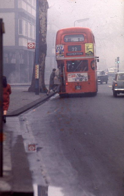 England 1969 - London, King's Road - double-decker and typical foggy weather