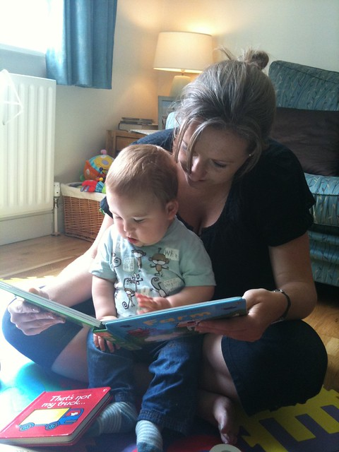 Katharine reading with Alex