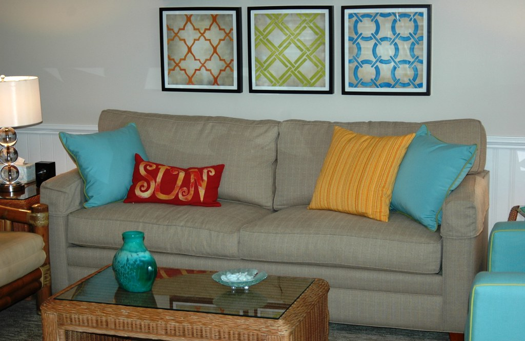 Modern Square Sofa with Colorful Pillows