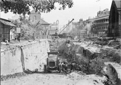 Early excavations of northern end of York Street for southern approach to the Harbour Bridge (note old Scots Church left and St Philips right), c. 1930-1932, by Ted Hood