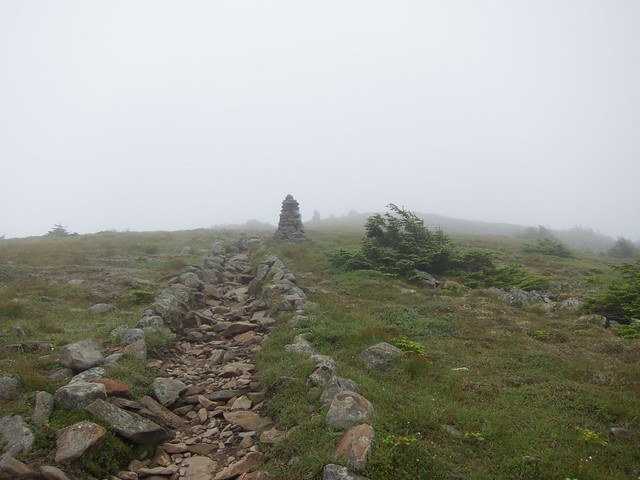 1:49:33 (83%): fog hiking newhampshire whitemountains mtmoosilauke cairn bentontrail