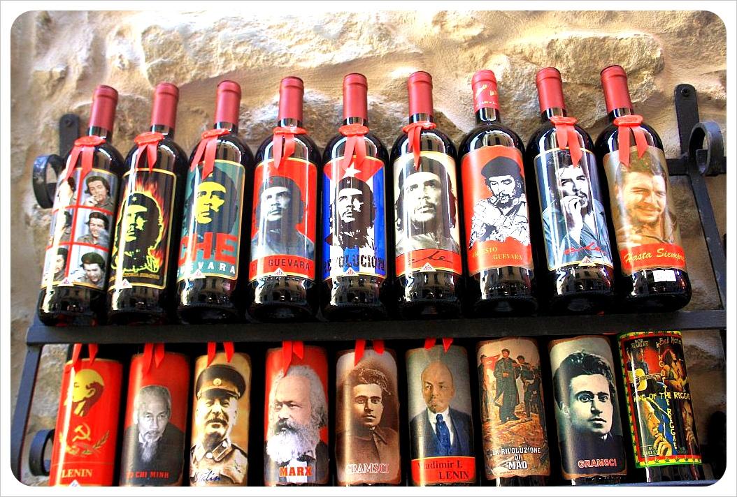 wine bottles with che guevara et al