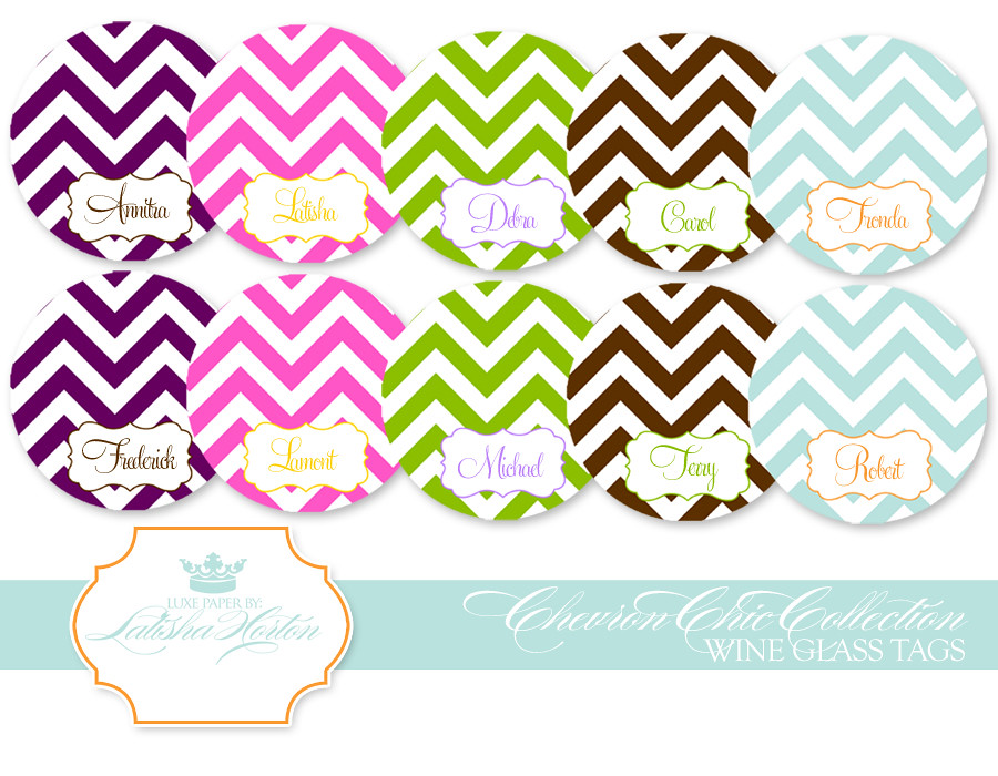 graphic about Printable Wine Glass Tags called Chevron Selection - Printable Wine Tags /retail store