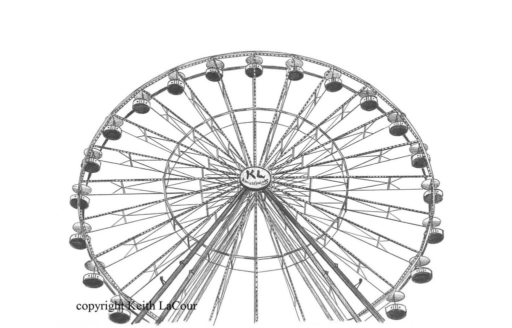Looking Up At The Ferris Wheel Pencil Drawing By Keith Lac Flickr
