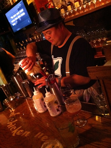 Rocky Yeh mixing up some libations   by Emily Cavalier