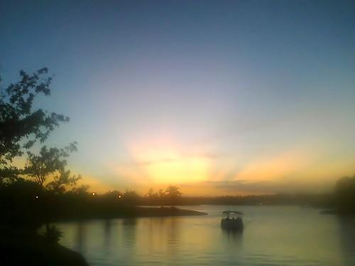 sunset usa lake boat woodlands texas