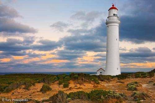 sunset lighthouse portland landscape australia victoria vic capenelson