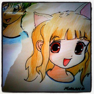 She's starting to use her colored pencils more. Love it! #illustration #Anime #drawing #incourage | by SprittiBee