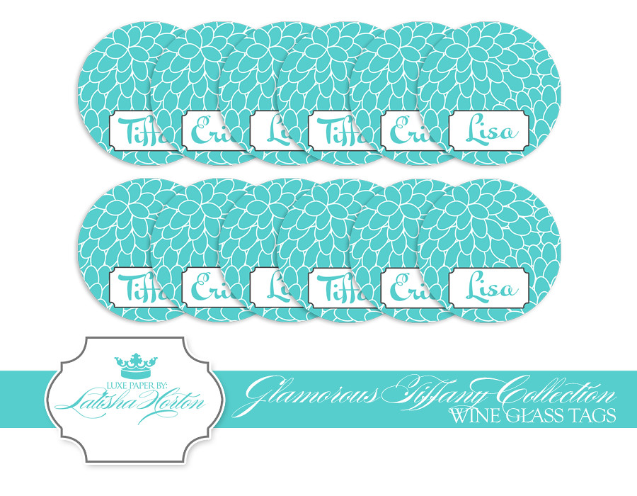 graphic relating to Printable Wine Glass Tags called Tiffany Selection - Printable Wine Gl Tags