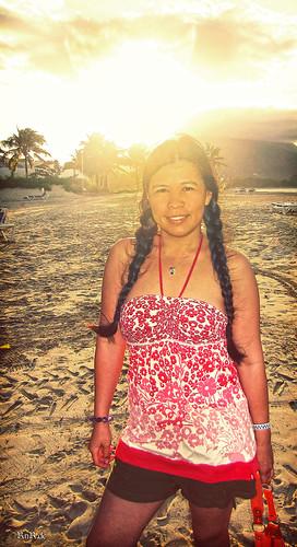 sunset woman beach girl beauty smile island pretty dominicanrepublic playa charm puertoplata domrep playadorada