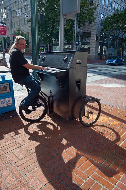 The Pianobike Kid in Downtown Portland, Oregon