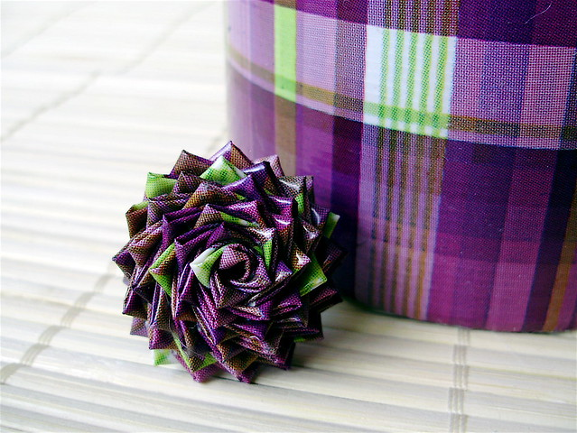 Purple Plaid Duct Tape Rose Ring