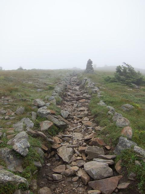 1:49:43 (83%): fog hiking newhampshire whitemountains mtmoosilauke cairn bentontrail