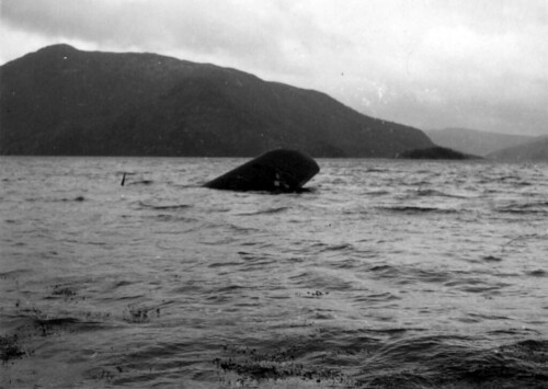 Rester av tysk flybåt ved Hemnesberget eller Elsfjord