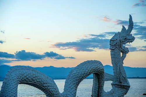 sunset landscape thailand asia dragon serpent kwan phayao