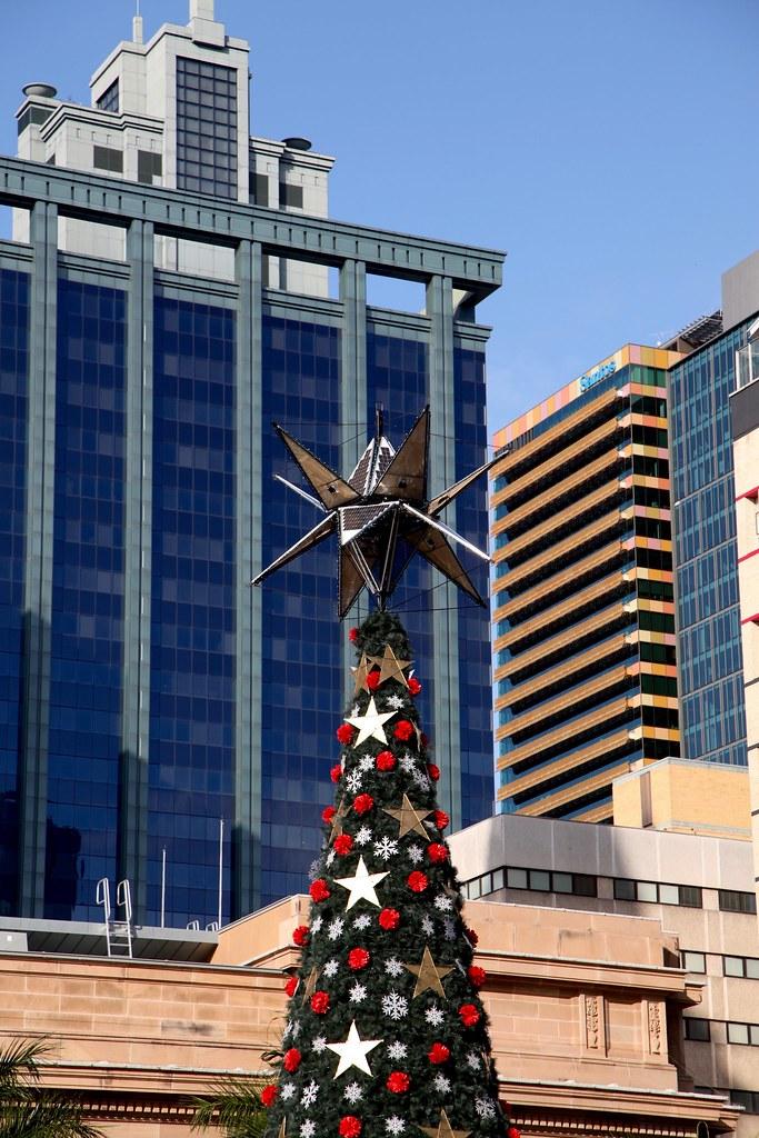 solar panel, top of solar christmas tree, Brisbane.