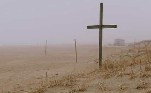 jersey beach ocean oceangrove cross nj mist sky fog sand water landscape shore neptunetownship newjersey unitedstates us