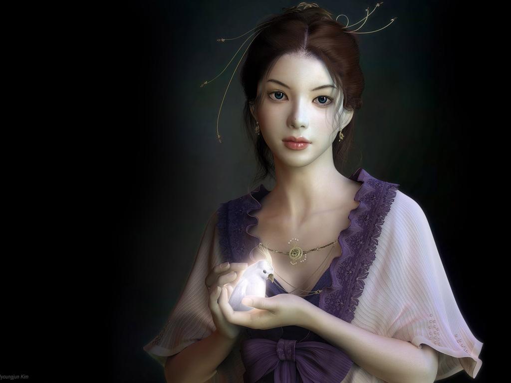 Fantasy Girl Angel Wallpapers Bird White Face Japanese Gir
