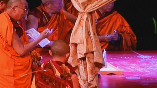 His Holiness the 14th Dalai Lama praying over, visualizing, and making offerings with his monks, Kalachakra for World Peace, Constructing the Mandala, Verizon Center, Kalachakra for World Peace, Washington D.C., USA