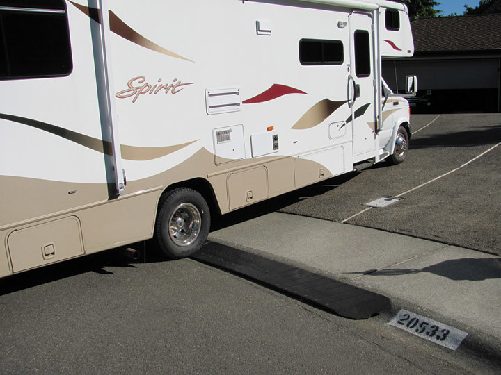 RV enters driveway with a Bridjit Curb Ramp installed    Flickr