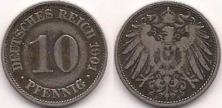 Deutsches Reich 10 pfennige 1901