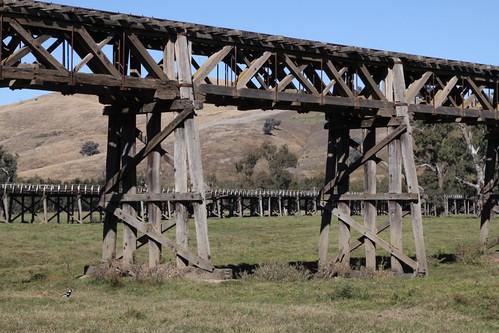 Timber trestle bridges at Gundagai, NSW