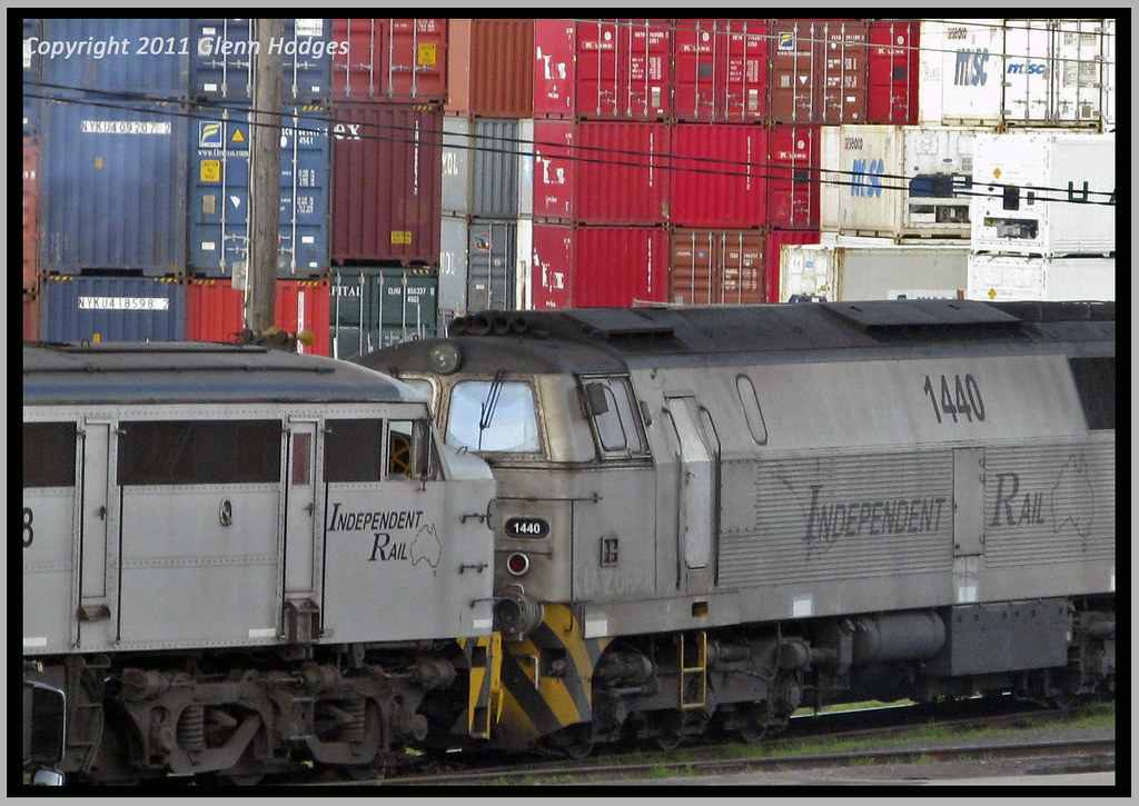 1440 & 4458 idle ready for next container transfer by glenn5108