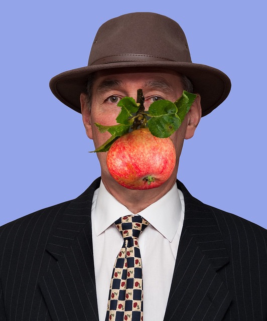 An apple a day! Magritte style.
