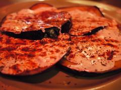 木, 2011-07-21 19:12 - Jackson Heights: Afghan Kebab House Banjan Boorani $5.00 Baby eggplant thinly-sliced, sauteed in herbs and spices. Topped with minted yogurt sauce.
