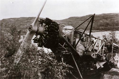 Tysk fly etter kampene i Narvik 1940