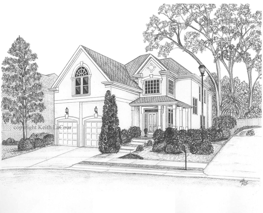 House pencil drawing by artist kl