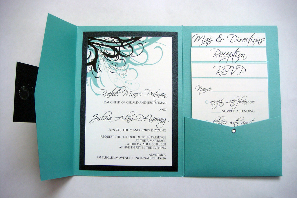 Dark Blue Wedding Invitations: Blue (Aqua) And Black Wedding Invitations