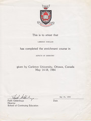 Lawrence Sinclair Carleton Course Diploma 1984 scan