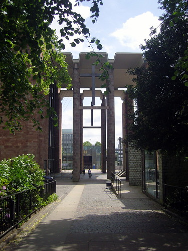 The archway linking old and new Coventry Cathedrals.   by Roly-sisaphus