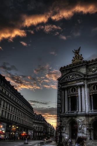sunset paris opera