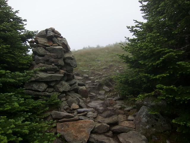 1:48:42 (82%): fog hiking newhampshire whitemountains mtmoosilauke cairn bentontrail