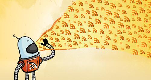RSS Robot Illustration ~ Shout it out! | by EvokeArtDesign