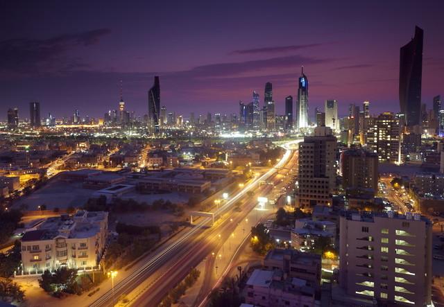 Kuwait City with Traffic trails !