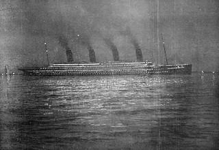 RMS Titanic at Cherbourg : Night Shot