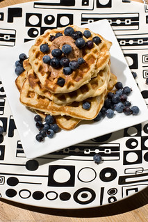 whole wheat waffles + wild blueberries + cinnamon butter | by nikaboyce