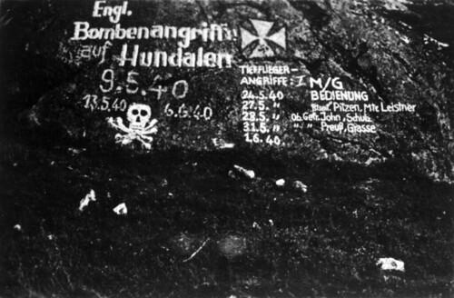 Tyske notater om engelske bombeangrep i Hundalen, Narvik