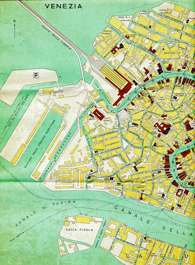 Map of Venice | Vintage travel map, detail, of Venice ...