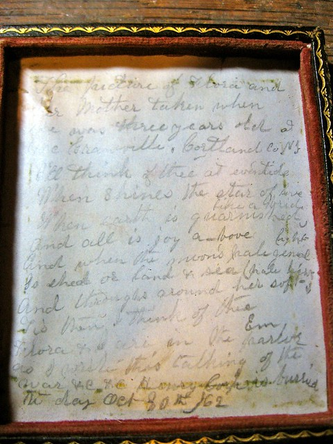 Writing Inside the Case of the Daguerreotype of Flora and Her Mother