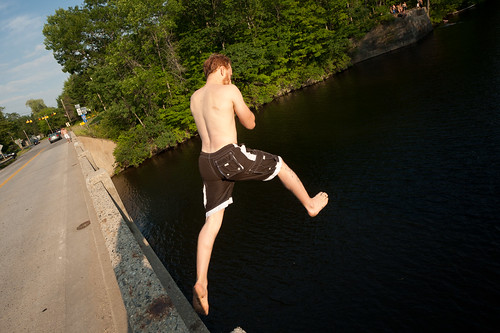 Tyler Jumping off a Bridge into the Saco River | by goingslowly