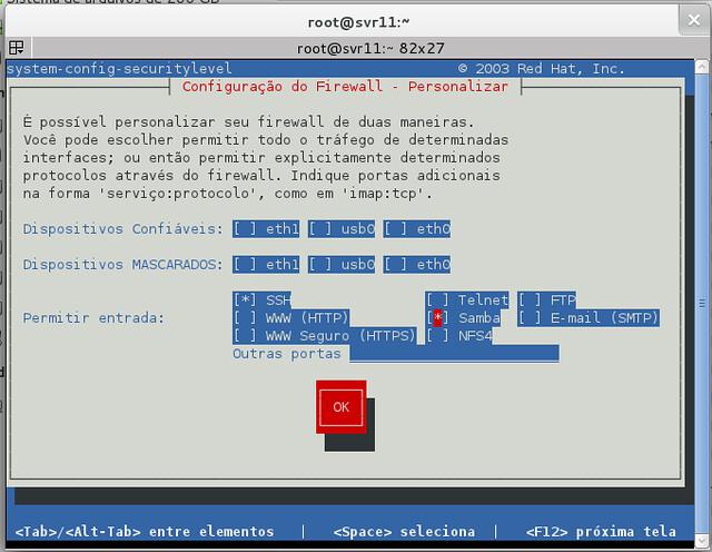Liberar Samba 2 - system-config-securitylevel-tui