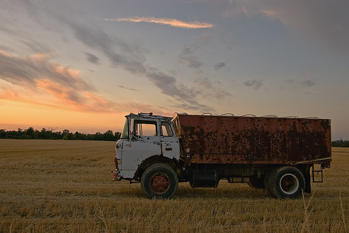 sunset rural truck farm harvest