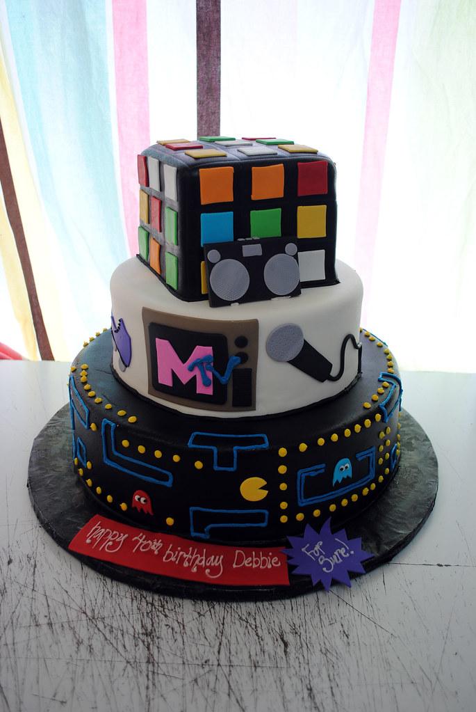 Excellent 80S Themed Tiered Cake Ben Pleiss Flickr Funny Birthday Cards Online Elaedamsfinfo
